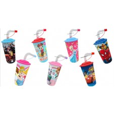 3D DISNEY CUPS & STRAW H 20cm x 8cm 17.5oz/500ml